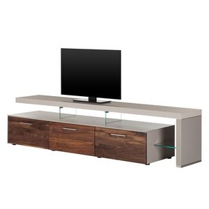 TV-Lowboard Solano II - Ohne Beleuchtung - Nussbaum / Platingrau - Mit TV-Bank rechts, Netfurn by GWINNER