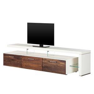 TV-Lowboard Solano II - Ohne Beleuchtung - Nussbaum / Weiß - Mit TV-Bank rechts, Netfurn by GWINNER
