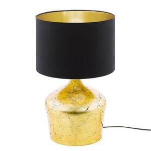 EEK A++, Tischleuchte Manalba - Mischgewebe / Stahl - 1-flammig - 47 - Schwarz / Gold, Eglo