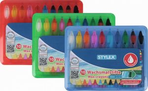 10 Wachsmalstifte wasservermalbar Stylex