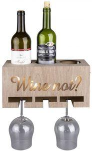 LED-Weinflaschen- und gläserhalter - aus Holz - 30 x 12,5 x 15 cm