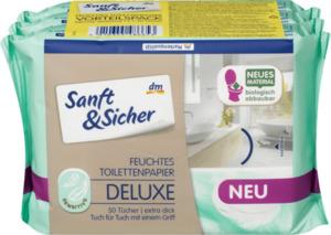 Sanft&Sicher Feuchtes Toilettenpapier Deluxe Sensitive, 3x50St,