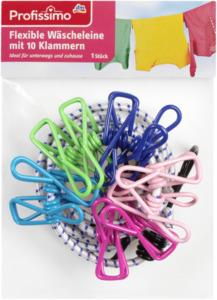 Profissimo Flexible Wäscheleine mit 10 Klammern