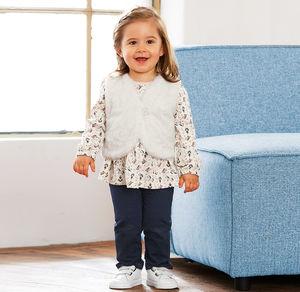 Liegelind Baby-Mädchen-Set mit kuscheliger Weste, 3-teilig
