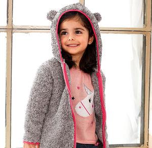 Liegelind Baby-Mädchen-Plüsch-Jacke mit süßen Öhrchen