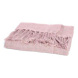 Decke Fransen, B:150cm x L:200cm, rosa