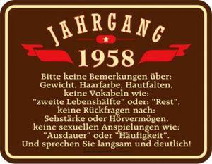 Blechschild Jahrgang 1958