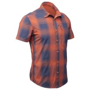 QUECHUA Trekkinghemd kurzarm Travel 100 Fresh Herren orange kariert, Größe: S