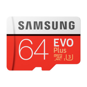 Samsung Evo Plus 64 GB microSDXC Speicherkarte (100 MB/s, Class 10, UHS-I, U3)
