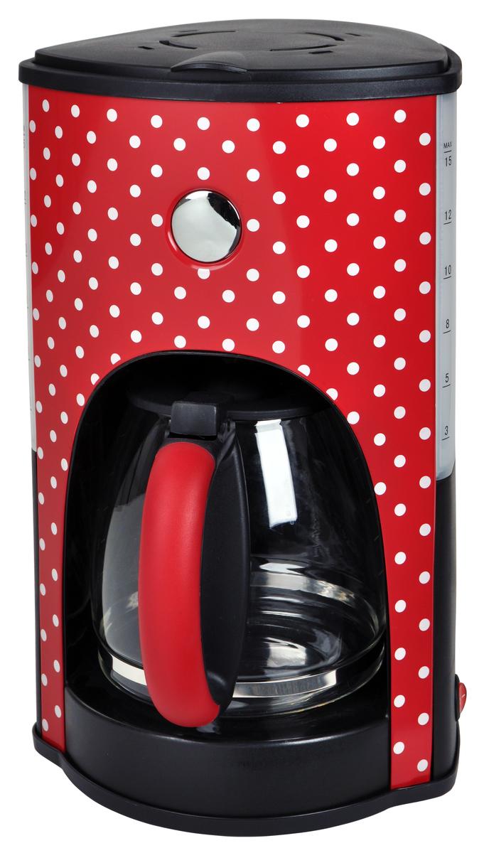 Bild 1 von Kalorik Retro-Kaffeeautomat 1,8 Liter 15 Tassen Glaskanne Rot mit weißen Punkten TKG CM 1045