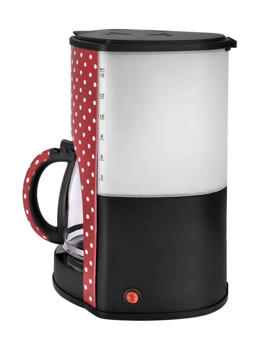 Bild 2 von Kalorik Retro-Kaffeeautomat 1,8 Liter 15 Tassen Glaskanne Rot mit weißen Punkten TKG CM 1045