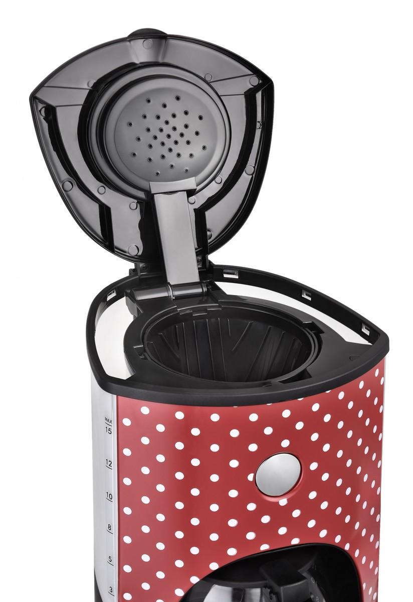 Bild 3 von Kalorik Retro-Kaffeeautomat 1,8 Liter 15 Tassen Glaskanne Rot mit weißen Punkten TKG CM 1045