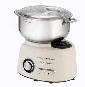 KitchenOriginals 3 in 1 Küchenmaschine TKG HA 1007 Creme-Weiß mit Standmixer- & Zerkleinereraufsatz