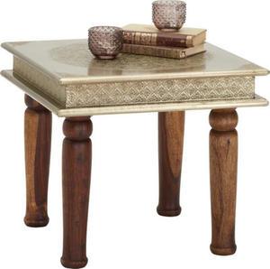 Carryhome BEISTELLTISCH Sheesham mehrschichtige Massivholzplatte (Tischlerplatte) quadratisch Braun
