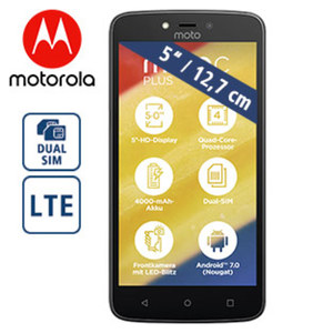 Smartphone moto c plus · 2 Kameras (2 MP/8 MP) · 1 GB RAM · microSD™-Slot bis zu 32 GB  · Android™ 7.0