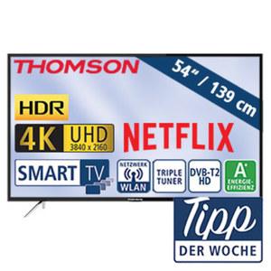 """54""""-Ultra-HD-LED-TV 55UC6316 HbbTV, H.265, HDR, Dual-Core, 3 HDMI-/2 USB-Anschlüsse, CI+, Stand-by: 0,29 Watt, Betrieb: 85 Watt, Maße: H 72,3 x B 124,9 x T 7,6 cm, Energie-Effizienzklasse A+ (Spekt"""