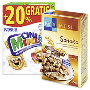 Kölln Müsli oder Nestlé Cerealien versch. Sorten,  jede 500/600-g-Packung/ jede 375 g + 20% gratis = 450-g-Bonuspackung