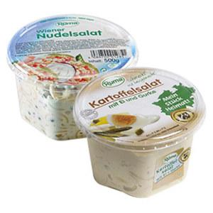 Rüma Kartoffelsalat mit Ei und Gurke oder Wiener Nudelsalat jeder 500-g-Becher