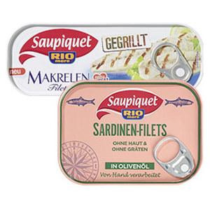 Saupiquet gegrillte Makrelenfilets oder Sardinenfilets in Olivenöl versch. Sorten, jede 105/120-g-Dose