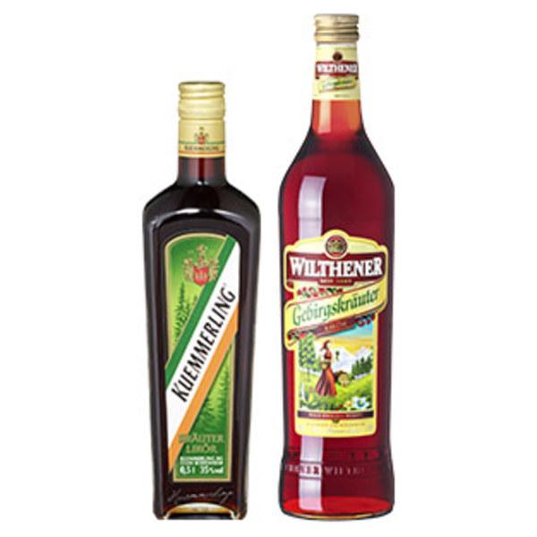 Wilthener Gebirgskräuterlikör oder Kuemmerling 30/ 35 % Vol.,  jede 0,7/0,5-l-Flasche