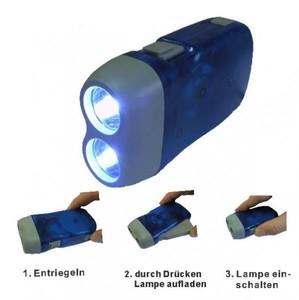 LED Dynamo Handlampe Lampe Leuchte Taschenlampe Campen