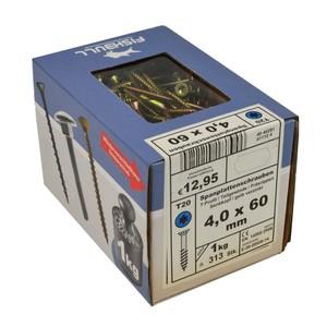 Spanplattenschraube 4,0x60 IVZ 1kg Pack T-Profil TX Senkkopf Teilgewinde gelb