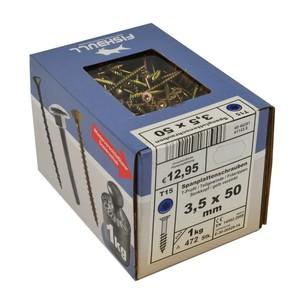 Spanplattenschraube 3,5x50 IVZ 1kg Pack T-Profil TX Senkkopf Teilgewinde gelb
