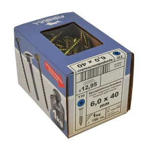 Spanplattenschraube 6,0x40 IVZ 1kg Pack T-Profil TX Senkkopf Teilgewinde gelb