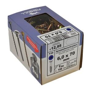 Spanplattenschraube 6,0x70 IVZ 1kg Pack T-Profil TX Senkkopf Teilgewinde gelb