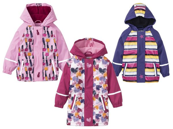 Kleinkinder Mädchen Matsch und Buddeljacke Regenjacke mit Fleece Gefüttert