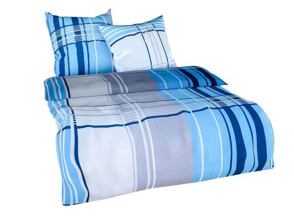 Setex Comfort Feinbiber Bettwäsche Squares Blau Von Lidl