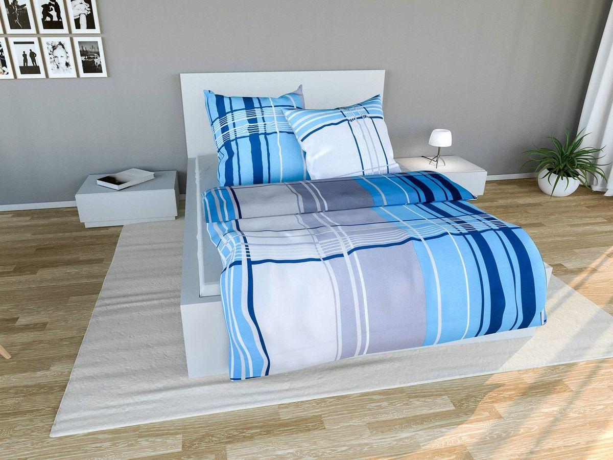 Bild 2 von Setex Comfort Feinbiber Bettwäsche Squares blau