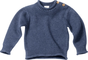 ALANA Baby-Pullover, Gr. 68, in Bio-Baumwolle und Bio-Wolle, blau für Mädchen und Jungen