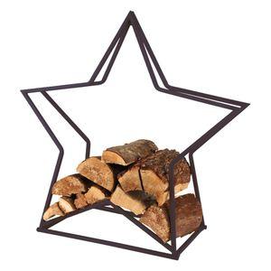 Kaminholzgestell Stern aus Metall Schwarz