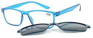 VISIOSAN Lesehilfe mit Magnet-Sonnenbrillenclip - blau 3,5 dpt