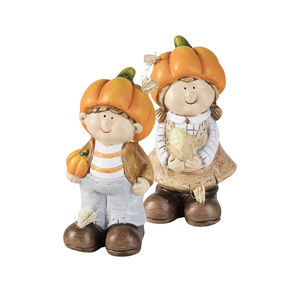 Deko-Figur mit Kürbis-Hut, Junge oder Mädchen