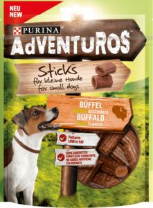Adventuros Snack für Hunde, Mini-Sticks, Büffel