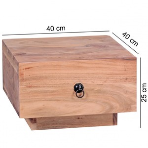 WOHNLING Nachttisch Massiv-Holz Akazie Design Nacht-Kommode 25 cm hoch mit Schublade Nachtschrank Na