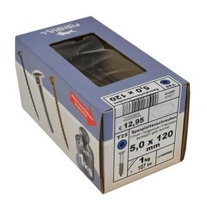 Spanplattenschraube 5,0x120 IVZ 1kg Pack T-Profil TX Senkkopf Teilgewinde gelb