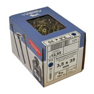 Spanplattenschraube 3,5x35 IVZ 1kg Pack T-Profil TX Senkkopf Teilgewinde gelb