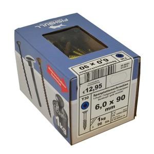 Spanplattenschraube 6,0x90 IVZ 1kg Pack T-Profil TX Senkkopf Teilgewinde gelb