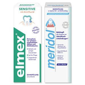 elmex Sensitive Zahnspülung oder meridol Mundspülung jede 400-ml-Packung