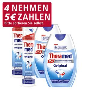 Theramed 2in1 Zahncreme + Mundspülung oder Spender versch. Sorten, 75-ml-Flasche/100-ml-Spender