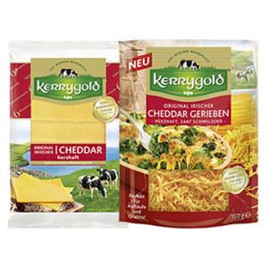 Kerrygold Irischer Cheddar gerieben oder Scheiben Irischer Hart- und Schnittkäse, 48/50 % Fett i. Tr., versch. Sorten,  jede 150/125-g-Packung