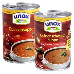 Unox Ochsenschwanzsuppe oder Gulaschsuppe konzentriert und weitere Sorten,  jede 400-ml-Dose