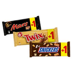 Mars, Snickers oder Twix 6er + 1 Riegel Gratis, jede 315/350-g-Packung