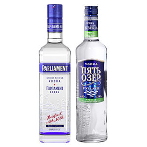 Parliament Vodka oder Siberian Wodka Five Lakes 38/40 % Vol., jede 0,7-l-Flasche