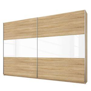 Schwebetürenschrank Loriga - Eiche Sonoma Dekor / Glas Weiß - 261 cm (2-türig), Rauch Packs