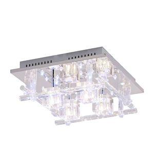 EEK B, LED-Deckenleuchte Kemal - Metall/Glas - Silber, Leuchten Direkt