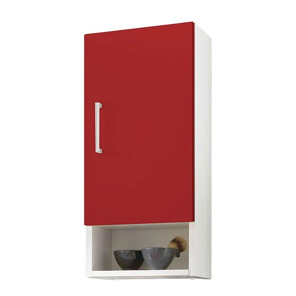 Hängeschrank Auro - Weiß-Rot, Posseik